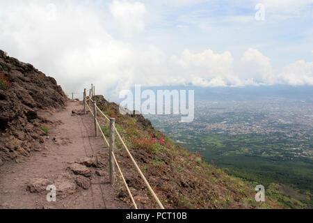 Footpath around the crater of Mount Vesuvius - near Naples, Golfo di Napoli, Italy - Stock Photo