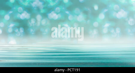 Abstract Blurred Bokeh Forest Background in Turquoise Blue - Spa style with Water - Stock Photo