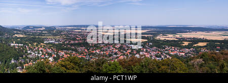 Overview of the health resort Bad Harzburg at the edge of the Harz mountains, high resolution panorama of composite photos. - Stock Photo