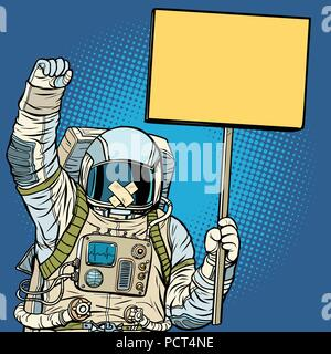 Astronaut with gag protesting for freedom of speech - Stock Photo