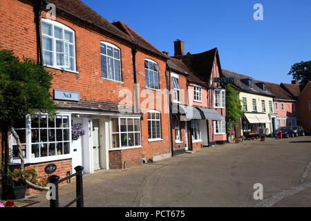 Half timbered Medieval buildings in Lavenham Suffolk UK - Stock Photo