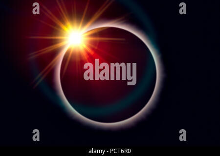 Total eclipse of the sun with diamond ring effect - Stock Photo