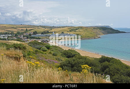 Dorset - Weymouth - clifftop view across the bay to Riviera Hotel at Bowleaze Cove - summertime - Stock Photo