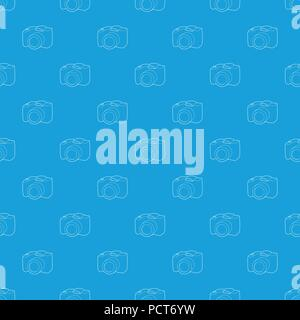 SLR camera pattern vector seamless blue - Stock Photo