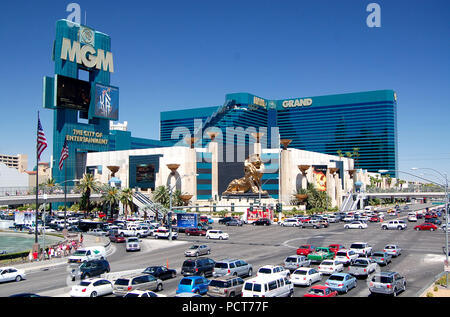 The MGM Grand Resort & Casino rises above the busy intersection of the Las Vegas Strip and Tropicana Avenue. - Stock Photo