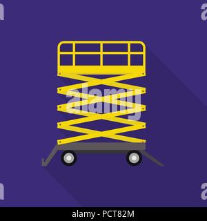 Warehouse lift table icon, flat style - Stock Photo