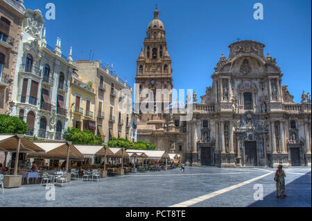 HDR image of the Plaza del Cardenal Belluga with Murcia Cathedral and Bell Tower, Murcia Spain - Stock Photo