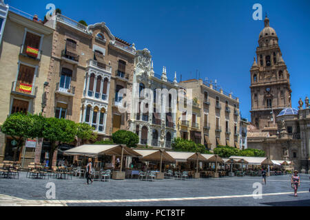 HDR image of the Plaza del Cardenal Belluga with apartments and Bell Tower, Murcia Spain - Stock Photo