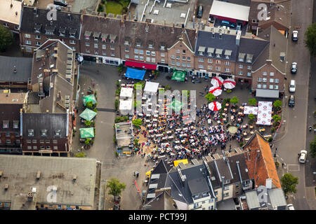 Football World Cup 2014, aerial photo, public screening on Kornmarkt square at Wesel, Wesel, Lower Rhine, North Rhine-Westphalia, Germany - Stock Photo