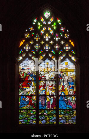 Stained-glass window with scenes of the Passion in the chapter house, Batalha Monastery, Mosteiro de Santa Maria da Vitória, UNESCO World Heritage-cultural site, Batalha Monastery Church, Mosteiro da Batalha, Batalha, Leiria District, Portugal, Europe - Stock Photo
