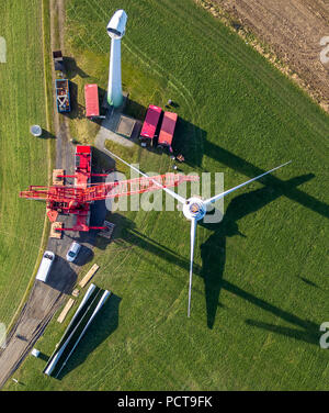Construction and installation of a wind turbine, wind turbines on Bremberg Mountain, Langenberg, Velbert, Ruhr area - Stock Photo