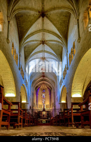 Nave of Sant Feliu, Collegiate church of Saint Felix, Girona, Catalonia, Spain - Stock Photo