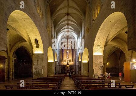 Nave of Sant Feliu, Collegiate church of Saint Felix, Girona, Catalonia, Spain - Stock Photo