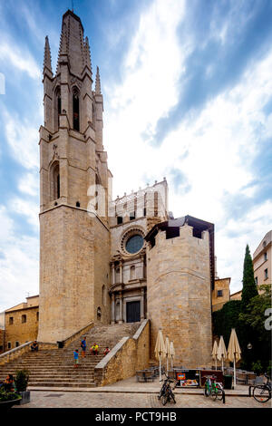Sant Feliu, Collegiate Church of Saint Felix, Inglesia de San Felix, Girona, Catalonia, Spain - Stock Photo