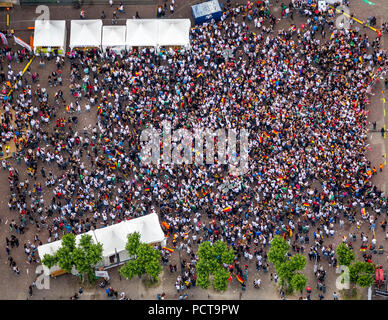 Soccer World Cup 2014, aerial photo, Public Screening on Rathausplatz square at Recklinghausen Town Hall, open-air, Kaiserwall, Recklinghausen, Ruhr Area, North Rhine-Westphalia, Germany - Stock Photo