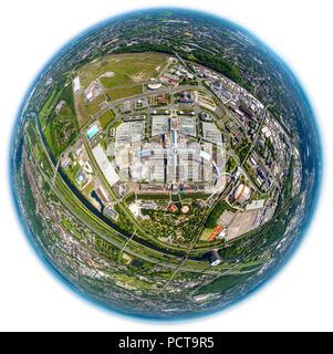 Fisheye lens, Centro Oberhausen, Neue Mitte, shopping mall, promenade, car park, view of Oberhausen, Oberhausen, Ruhr area, North Rhine-Westphalia, Germany - Stock Photo