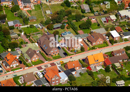 Nordhelm with holiday homes, aerial photo, Norderney, North Sea, North Sea island, East Frisian Islands, Lower Saxony, Germany - Stock Photo