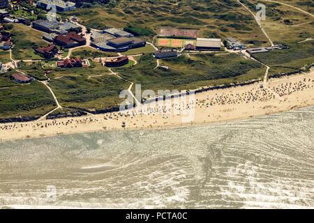 Sandy beach, aerial photo, Langeoog, North Sea, North Sea island, East Frisian Islands, Lower Saxony, Germany - Stock Photo