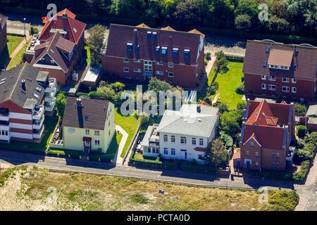Aerial photo, Wangerooge, North Sea, North Sea island, East Frisian Islands, Lower Saxony, Germany - Stock Photo