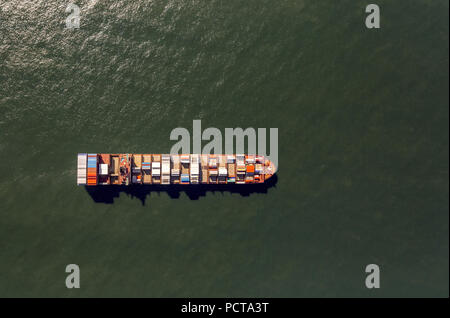 Maersk Lavras container ship at anchor, aerial photo, cargo ships at anchor off Spiekeroog, shipping line, shipping route, at sea, coastal waters, Spiekeroog, North Sea, North Sea island, East Frisian Islands, Lower Saxony, Germany - Stock Photo