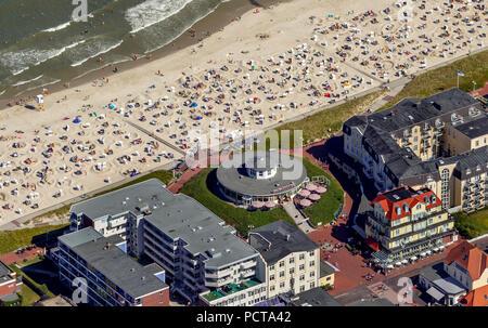 Pudding Café and beach, aerial photo, Wangerooge, North Sea, North Sea island, East Frisian Islands, Lower Saxony, Germany - Stock Photo