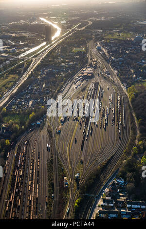 Aerial photo, Oberhausen Vonderort freight station and Bottrop freight station to the East, Oberhausen, Ruhr area - Stock Photo