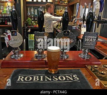 Frederic Robinson Ales, on a bar, Parr Arms,Grappenhall,Warrington,Cheshire,North West England,UK - Stock Photo