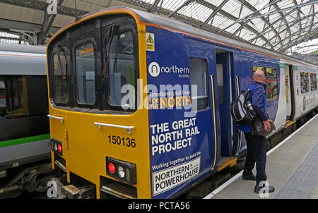 Northern Railway Train, DMU, Lime Street Railway Station, Liverpool, Merseyside, North West England, UK - Stock Photo