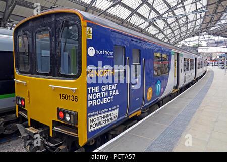 Northern Railway Train, DMU, Lime Street Railway Station, Liverpool, Merseyside, North West England, UK - Stock Photo