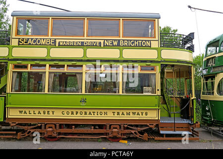 Wirral public Tram, Green Cream, Merseyside, North West England, UK - Stock Photo