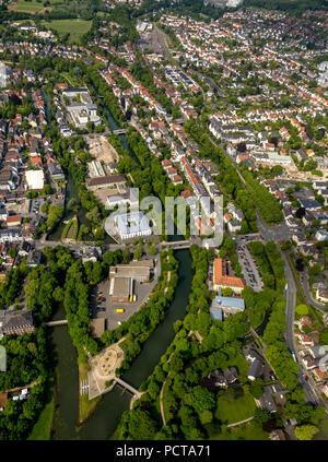 Hotel Lippe Residenz on the Lippe Island, aerial photo, Lippstadt, East Westphalia, North Rhine-Westphalia, Germany - Stock Photo