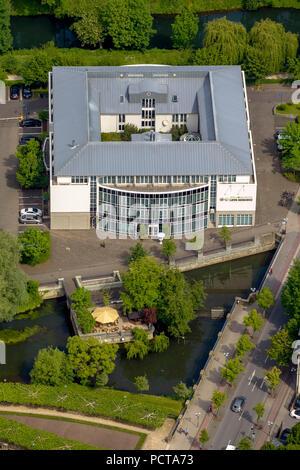 Lippe Residenz Hotel on the Lippe Island, aerial photo, Lippstadt, East Westphalia, North Rhine-Westphalia, Germany - Stock Photo