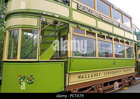 Wirral public Tram, Green Cream 78 Seacombe tram, Merseyside, North West England, UK - Stock Photo