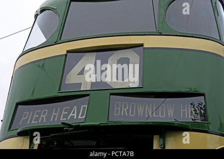 Wirral public Tram, Green Cream Pierhead Brownlow hill tram, Merseyside, North West England, UK - Stock Photo
