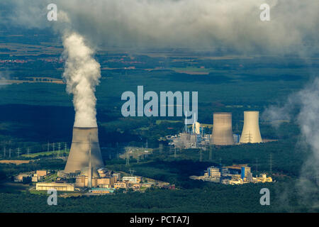 Aerial photo, Lingen nuclear power plant, Lingen, clouds, cooling tower, Lingen, Emsland, Lower Saxony, Germany - Stock Photo