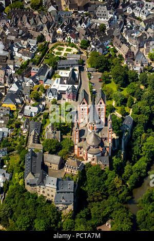 Aerial photo, Limburg Castle, Limburg Cathedral, old town of Limburg, Limburg an der Lahn, district town of Limburg-Weilburg (district), Hesse, Germany - Stock Photo