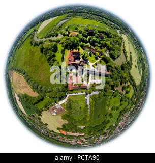 Heessen Castle Boarding School, moated castle, meander of the Lippe River, fish ladder, Lippe floodplains, nature reserve, Hamm, Ruhr area, North Rhine-Westphalia, Germany - Stock Photo