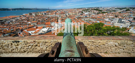 medieval cannon, view from the castle Castelo de São Jorge on the old town of Lisbon, Lisbon, District of Lisbon, Portugal, Europe - Stock Photo