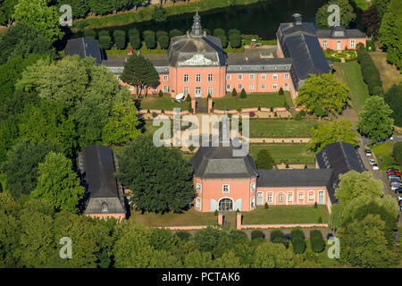 Wickrath Castle, moated castle complex at the Niers, park, outer bailey, Mönchengladbach, Lower Rhine, North Rhine-Westphalia, Germany, Europe - Stock Photo