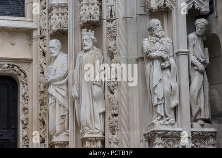 Holy figures on the west portal, Notre Dame Cathedral, Lausanne, Canton of Vaud, Western Switzerland, Switzerland - Stock Photo