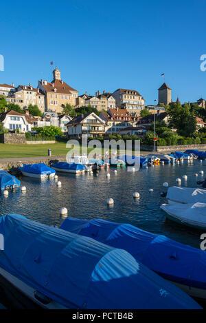 City view with town hall and boat harbor, Murten, Lake Murten, Canton of Fribourg, Western Switzerland, Switzerland - Stock Photo