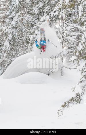 Skiing in Salzburg Land, Austria - Stock Photo