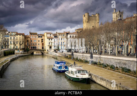 Canal de la Robine in winter - Stock Photo