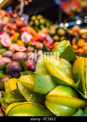 Mercat de Boqueria Market Hall in Barcelona, Fruits - Stock Photo