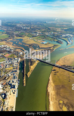 Lippe mouth with nature reserve near Wesel, river Lippe, Lippedelta, mouth of the lip into River Rhine, Rhine harbor Wesel, Wesel, Ruhr area, Niederrhein, North Rhine-Westphalia, Germany - Stock Photo