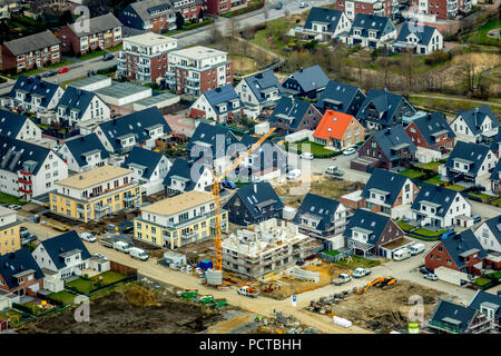 Residential area Kirchhellen-Süd, development area, third construction phase Schultenkamp between Dorfheide and the expanding Kirchhellener Ring in Bottrop-Kirchhellen, Bottrop, Ruhr area, North Rhine-Westphalia, Germany - Stock Photo