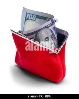 Open Change Purse With Hundred Dollar Bill Isolated on White. - Stock Photo