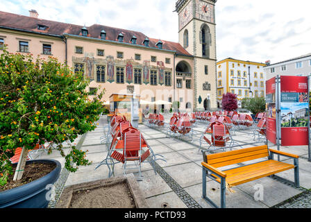 Old main customs office, town hall square, street cafe, house facade, city architecture, Passau, Lower Bavaria, Bavaria, Germany - Stock Photo