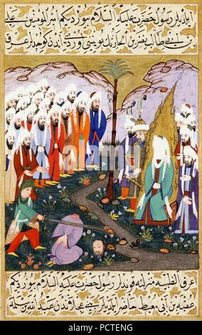 Ali Beheading Nadr ibn al-Harith in the Presence of the Prophet Muhammad. Miniature from volume 4 of a copy of Mustafa al-Darir‥99s Siyar-i-Nabi. Istanbul; c. 1594 The David Col.. - Stock Photo
