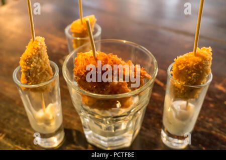 fish and shrimp skewers - Stock Photo